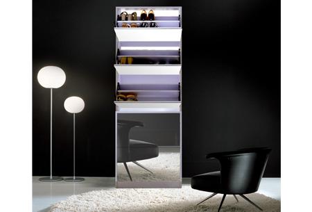 Schoenenkast met spiegel nu met enorm veel korting | Stijlvol, praktisch en overzichtelijk!