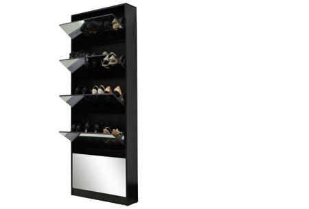 Schoenenkast met spiegel Zwart - XL