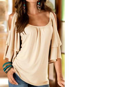 Butterfly sleeve shirt | Stijlvolle top met een sexy touch Beige