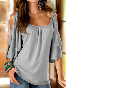 Butterfly sleeve shirt | Stijlvolle top met een sexy touch Grijs