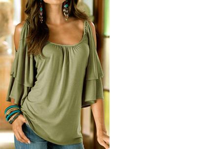 Butterfly sleeve shirt | Stijlvolle top met een sexy touch Legergroen
