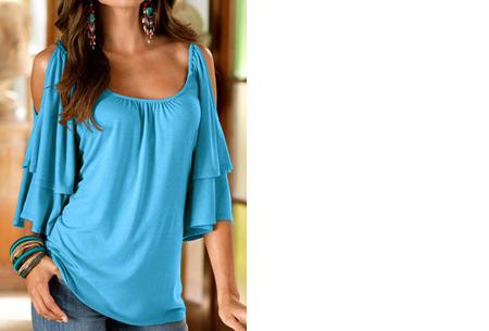 Butterfly sleeve shirt | Stijlvolle top met een sexy touch Lichtblauw