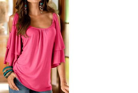 Butterfly sleeve shirt | Stijlvolle top met een sexy touch Roze