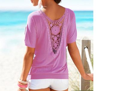 Lace Back shirt | Verkrijgbaar in de maten XS t/m 5XL Lichtpaars