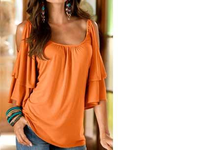 Butterfly sleeve shirt | Stijlvolle top met een sexy touch Oranje