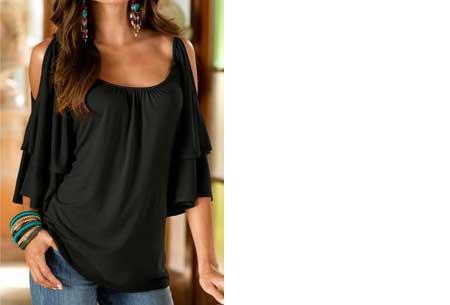 Butterfly sleeve shirt | Stijlvolle top met een sexy touch Zwart