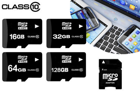 Micro SD-kaart van 16GB, 32GB, 64GB of 128GB + adapter