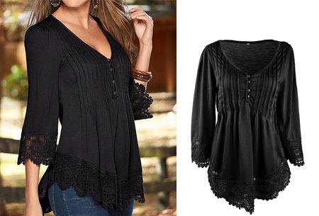 Top met kanten details   Kom stijlvol & vrouwelijk voor de dag met dit prachtige shirt! zwart