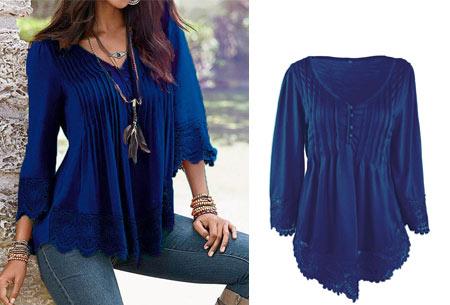 Top met kanten details   Kom stijlvol & vrouwelijk voor de dag met dit prachtige shirt! donkerblauw