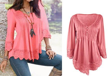 Top met kanten details   Kom stijlvol & vrouwelijk voor de dag met dit prachtige shirt! roze