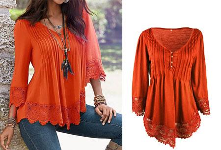 Top met kanten details   Kom stijlvol & vrouwelijk voor de dag met dit prachtige shirt! oranje