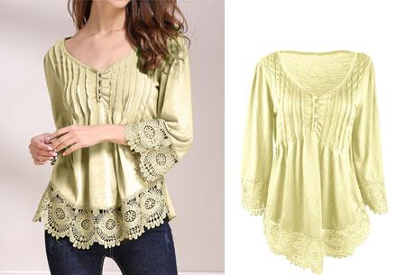 Top met kanten details   Kom stijlvol & vrouwelijk voor de dag met dit prachtige shirt! geel