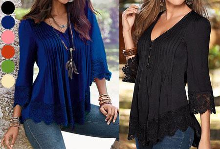 Top met kanten details   Kom stijlvol & vrouwelijk voor de dag met dit prachtige shirt!