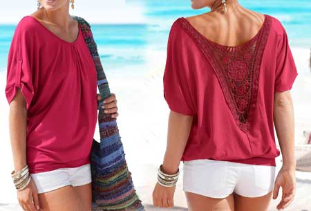 Lace Back shirt - Maat 3XL/4XL - Rood