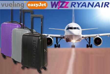 Handbagage koffer + voucher voor twee Europese retour vliegtickets | Ga voordelig op reis!