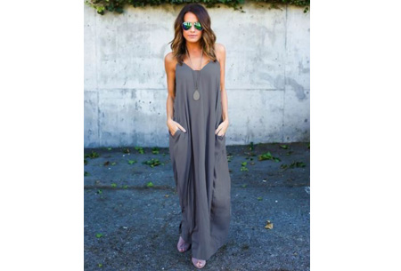 Oversized summer dress Maat M - Taupe