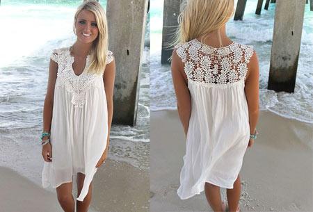 Lace jurk met prachtige kanten details | Ga voor een stijlvolle bohemian look! wit