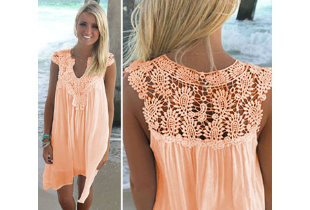 Lace jurk met prachtige kanten details | Ga voor een stijlvolle bohemian look! peach