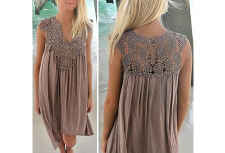 Lace jurk met prachtige kanten details | Ga voor een stijlvolle bohemian look! coffee