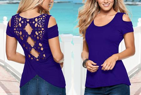 Lovely lace back shirt | Trendy en stijlvol met een sexy touch! Blauw