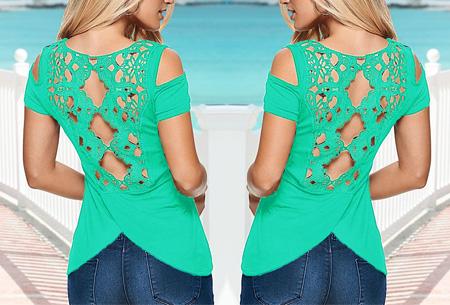 Lovely lace back shirt | Trendy en stijlvol met een sexy touch! Groen