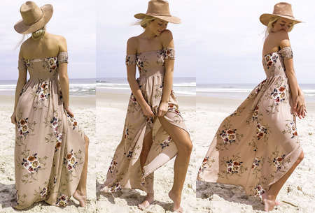 Bohemian off shoulder dress | Voor een prachtige boho look Khaki
