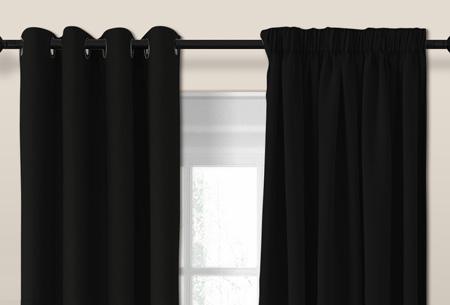 Larson luxe verduisterende gordijnen | Kant en Klaar, verkrijgbaar in verschillende maten en kleuren Black
