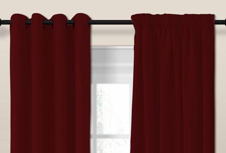 Larson luxe verduisterende gordijnen | Kant en Klaar, verkrijgbaar in verschillende maten en kleuren Bordeaux red