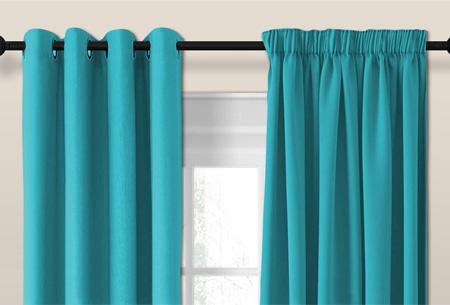Larson luxe verduisterende gordijnen | Kant en Klaar, verkrijgbaar in verschillende maten en kleuren Turquoise