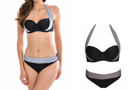 Halter push-up bikini | Met high of low waist broekje Low - Grijs