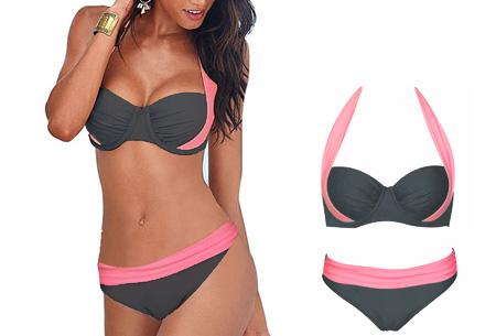 Halter push-up bikini - Maat L - Low waist - Roze