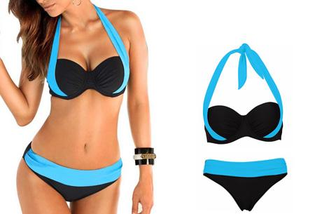 Halter push-up bikini - Maat L - Low waist - Lichtblauw