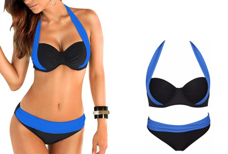 Halter push-up bikini | Met high of low waist broekje Low - Donkerblauw