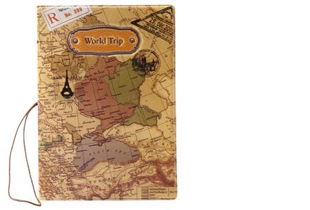 Paspoorthouder met wereldkaart opdruk | Bescherm je documenten tijdens het reizen! beige
