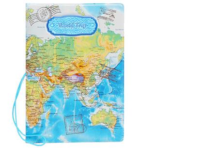 Paspoorthouder met wereldkaart opdruk | Bescherm je documenten tijdens het reizen! blauw