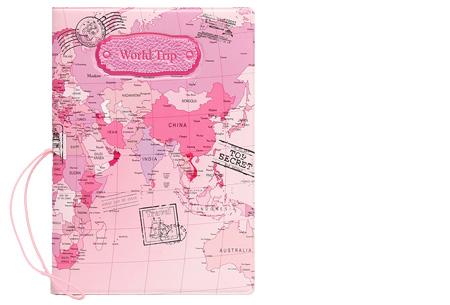 Paspoorthouder met wereldkaart opdruk | Bescherm je documenten tijdens het reizen! roze