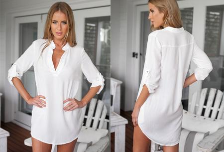 Lange v-neck blouse | Stijlvolle basic voor elke dames garderobe wit