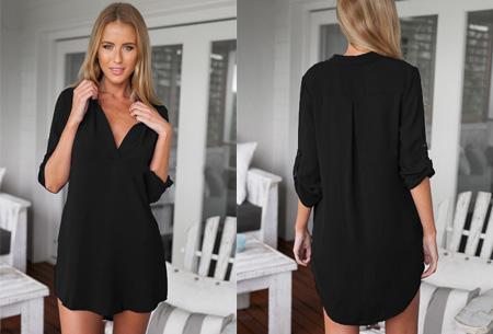 Lange v-neck blouse | Stijlvolle basic voor elke dames garderobe zwart