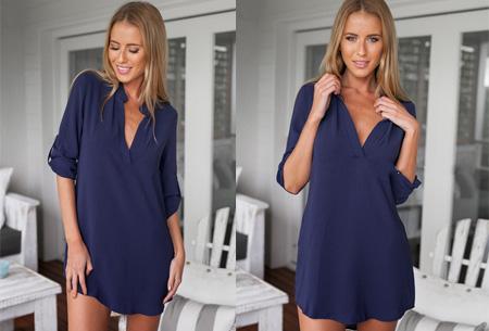 Lange v-neck blouse | Stijlvolle basic voor elke dames garderobe navy