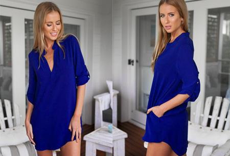 Lange v-neck blouse | Stijlvolle basic voor elke dames garderobe blauw