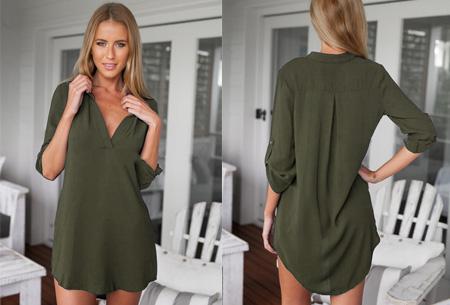 Lange v-neck blouse | Stijlvolle basic voor elke dames garderobe legergroen