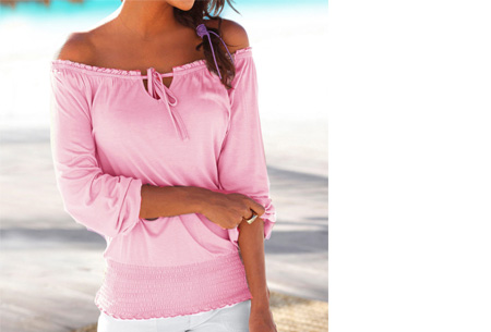 Off shoulder top   Hip, stijlvol en comfortabel in één! roze