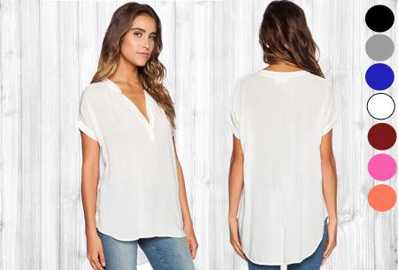 V-neck blouse met korte mouw