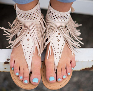 Ibiza fringe slippers - 41 - Beige