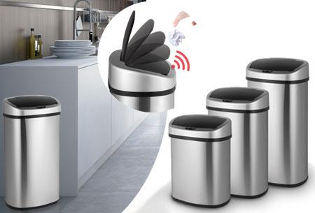 Dagaanbieding - 67% korting - RVS prullenbak met bewegingssensor dagelijkse koopjes