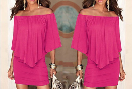 Off shoulder jurk Maat XL -Roze