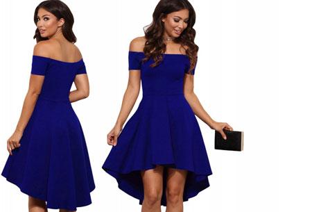Statement off shoulder jurk | Verkrijgbaar in 6 verschillende kleuren Donkerblauw