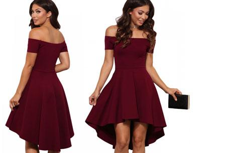 Statement off shoulder jurk | Verkrijgbaar in 6 verschillende kleuren Wijnrood