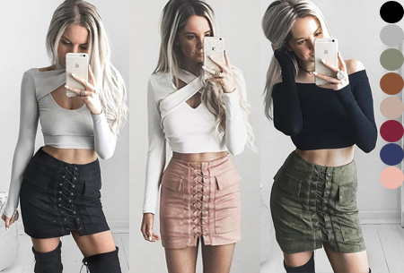 Suede look lace up rok