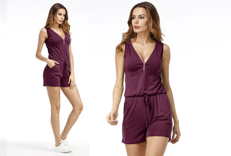 Jogging playsuit | Comfortabele zomerse onepiece Paars